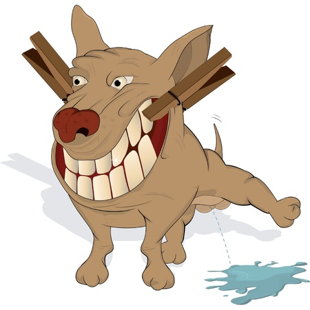 impudent: Very cheerful doggie. Cartoon  Illustration