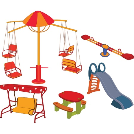 playground ride: The complete set a childrens swing. Clip Art Illustration