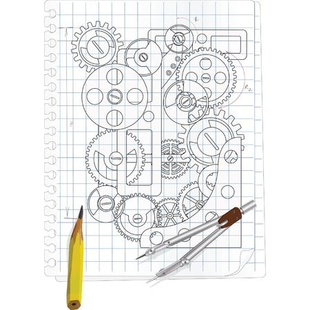 arquitecto: El dibujo con engranajes Vectores