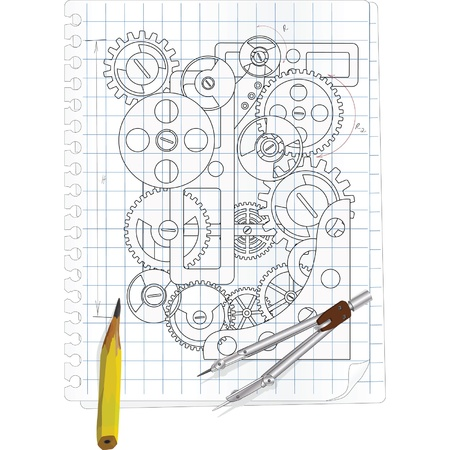 architect drawing: The drawing with gears Illustration