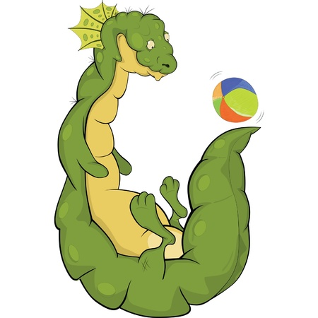 Dragon and a ball.Cartoon  Vector