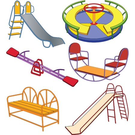chain swing ride: The complete set a childrens swing. Clip Art Illustration