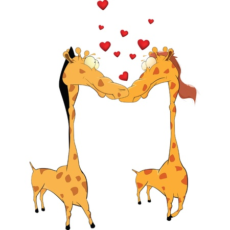 Love and giraffes. Cartoon Stock Vector - 9849836