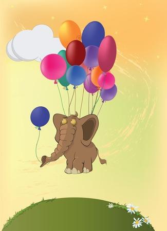 Elephant and balloons. Cartoon Vector