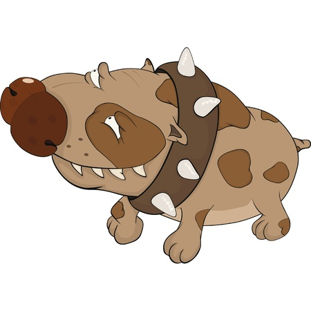 impudent: The hunting dog. Boxer. Cartoon Illustration
