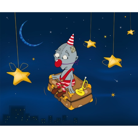 The clown flies on a suitcase.Celebratory night. Cartoon  Vector