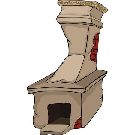 hot stones: Old rural oven. Cartoon