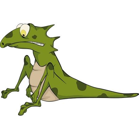 Green little lizard. Cartoon  Illustration