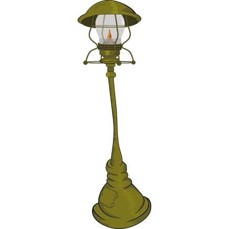aglow: Street lantern lamp. Cartoon