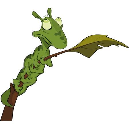 Little green caterpillar on a branch. Cartoon Vector