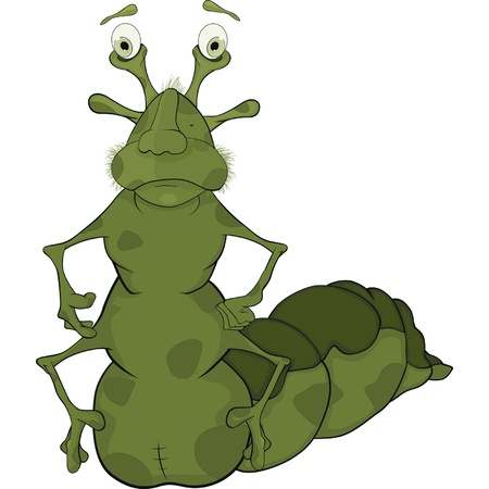 Little green caterpillar. Cartoon  Vector