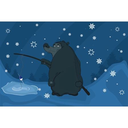 Bear fishing in winter. Cartoon Vector