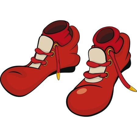 zapatos caricatura: Botas para el payaso con medias rojas Vectores
