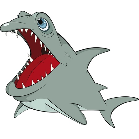 Cheerful shark. Cartoon  Vector