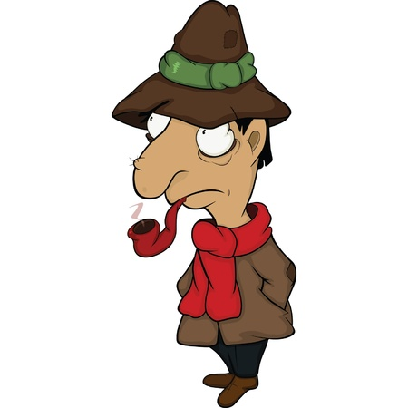 The detective. Cartoon