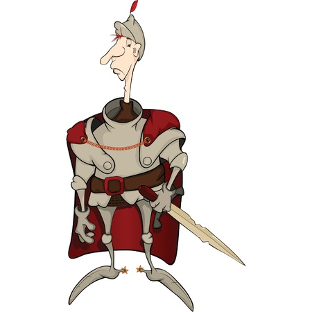 squire: The knight in a raincoat. Cartoon Illustration