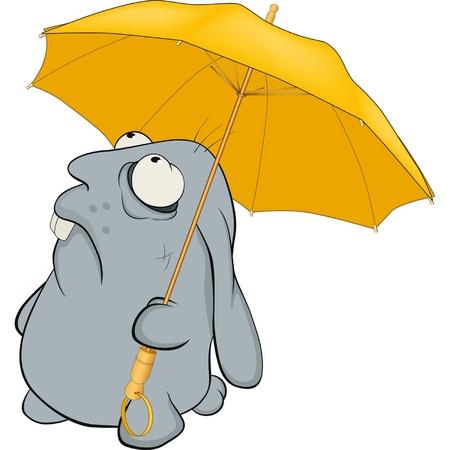 wild rabbit: Blue rabbit and umbrella. Cartoon  Illustration
