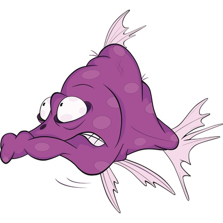 piranha: Deep water fish.Coral small fish. Cartoon  Illustration
