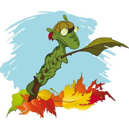 Little green caterpillar on a branch. Autumn. Cartoon