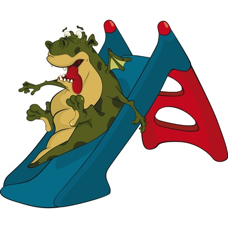 Little green dragon and children swing a hill. Cartoon  Vector
