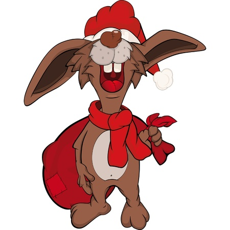Rabbit with gifts. Santa Claus. Cartoon