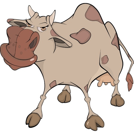 impudent: Cheerful cow. Cartoon