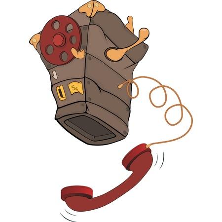 cable telefono: Dibujos animados de tel�fono antiguo Vectores