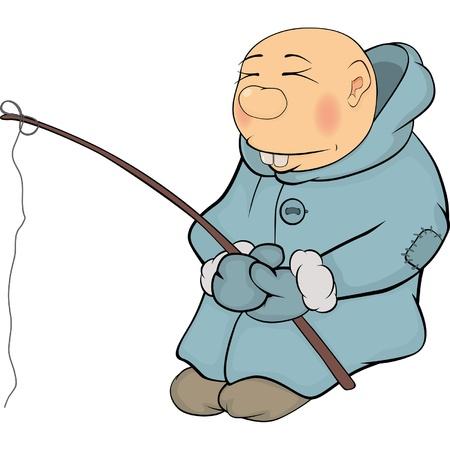 The fisherman. The Eskimo. Cartoon