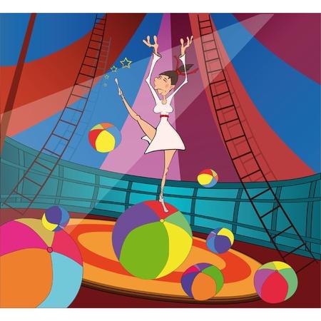 baile caricatura: La gimnasta y el circo. Dibujos animados Vectores