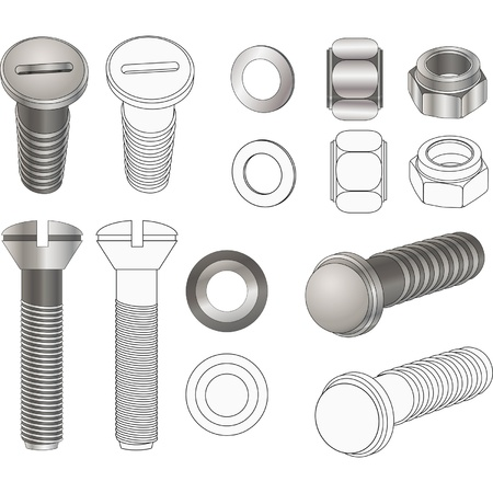 The complete set bolts and nuts . Clip-Art Stock Vector - 11819027