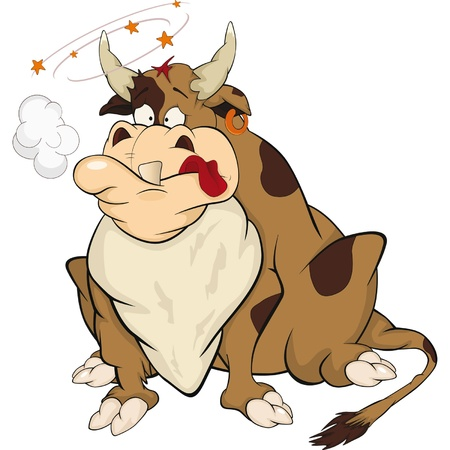 Bull after bullfight. Cartoon