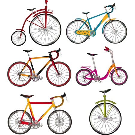 complete: Clip-art.The complete set of bicycles