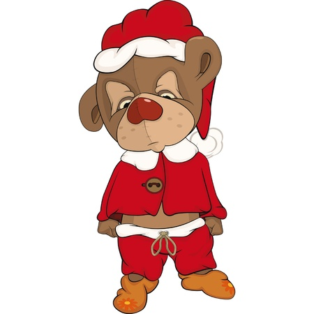 Sleepy bear cub in a red pajamas. Cartoon  Vector