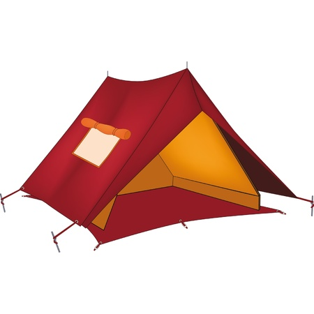 camping tent: Red tent. Cartoon