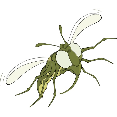 bothersome: The scared green fly.Cartoon