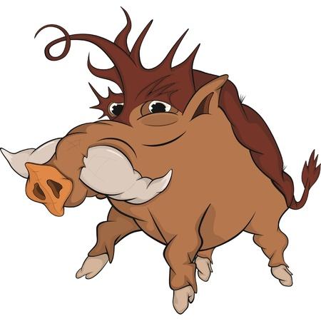 pig tails: Wild boar. Cartoon