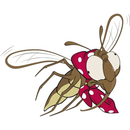 The grandmother a fly. Cartoon  Vector