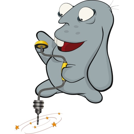 About a blue rabbit and a drill. Cartoon. Stock Vector - 11933259