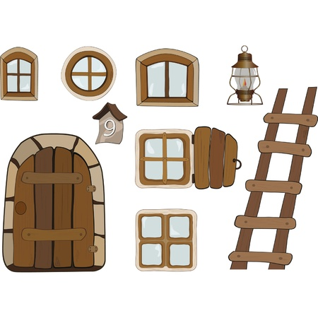puertas antiguas: Objetos de construcci�n. Las ventanas y puertas Vectores