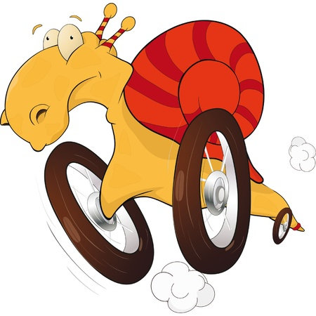 Snail on wheels. The race driver. Cartoon  Vector
