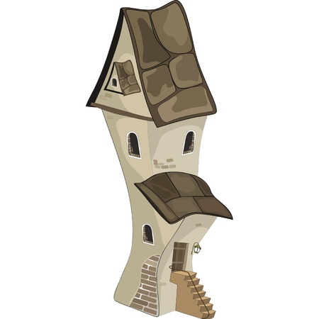 The old house from a fairy tale. Cartoon  Vector