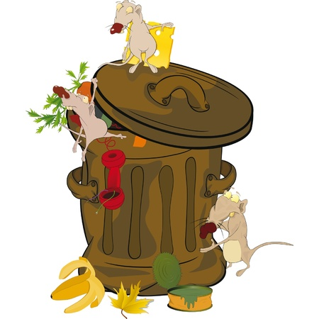 cleanliness: Garbage bank and rats. Cartoon.