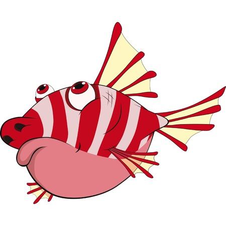 submarino: Espinoso pez pequeño de coral. Dibujos animados Vectores