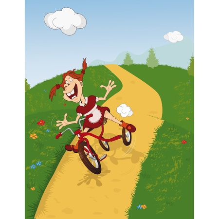 daisy wheel: The cheerful girl goes for a drive on a bicycle. Cartoon. Comic book
