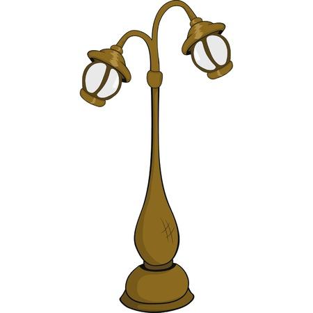 antiquities: Street lantern,lamp. Cartoon Illustration
