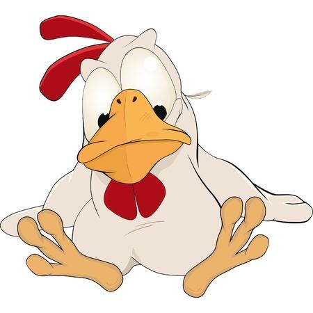 bird song: Cockerel. Cartoon Illustration