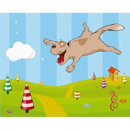 Stock Photo: Cheerful cat and flight. Cartoon Vector
