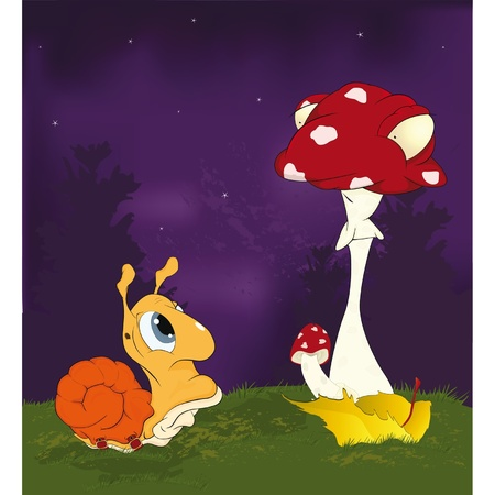 Fairy tale about a snail and a mushroom a fly agaric.Cartoon  Vector