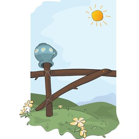 Rural landscape. Cartoon  Vector