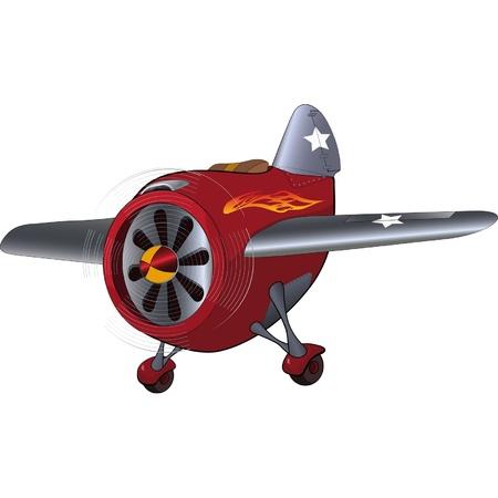 Het speelgoed vliegtuig